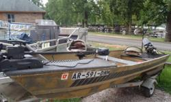 14ft Jon Boat 51-16 with 9.8 Mercury and trailer. Short term layaway available with no credit check. We will go up to 3 months in the spring/summer and up to 6 months in the fall/winter. Most boats we require $500.00. Trades welcome. Shown by appointment
