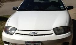 2005 Chevrolet Cavalier, white 4-door sedan, 2.2 liter engine, automatic transmission, front wheel drive, 112,000 miles, A/C, AM/FM stereo, CD player, cloth seats, bucket seats, rear defrost, rear shoulder harness, 2 airbags, tilt steering, trip odometer,