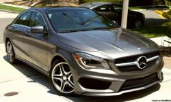 2014 Mercedes Benz CLA250 4-door coupe Mountain Grey exterior with Ash (gray) interior and Black Ash wood trim Only 10,200 miles! Original owner Turbo Engine Panorama Sunroof Sport Package - sport suspension, 18-in AMG wheels, high-performance tires Rear
