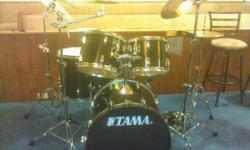 5 piece Tama drum set with cymbals, chimes, cowbell, double bass pedal, stands, and cases. In good shape used in church .cash only sale