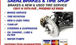 ? ? QUALITY USED TIRES SALE!! ? ? ALL SIZE TIRES!! IF YOUR IN NEED OF QUALITY USED TIRES COME SEE US OR CALL TO SEE AVAILABILITY! ALSO ID YOU MENTION THIS ADD GET 15% OFF NEW TIRES AS WELL!!! SAVE BIG! SAENZ TIRE