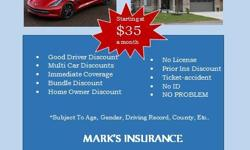 If you think you're paying too much for auto insurance, you're probably are. Call Mark's Insurance, we can help you save some cash. Auto liability can be as low as $35/month. The sooner you call us, the sooner we can help you save!! Call today, don't