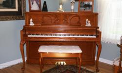 """Model 5057 LE Hamilton Country Oak. Serial #470596. Purchased new 3-28-1999. 45"""" tall. Perfect condition inside and out. Used very little and tuned on a regular basis."""