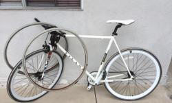 Vilano for Teenagers boys bicycle in good shape white color with 2 spare tires, one speed and one brake  Vilano is a very good brand. The bicycle is light made of aluminum and combined with the thin tires it becomes a Fast bicycle good to ride in the
