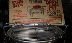 Rotisserie with electric rototating spit, stainless steel with aluminum drip pan, like new.