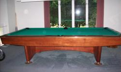 - 24 year old Brunswick 9 ft. pool table - never been exposed to smoke - re-felted 7 years ago/minimal use after - buyer responsible for transporting and moving - $1500 or best offer/willing to negotiate *also includes overhead light, pool cues, grey