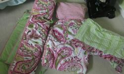 Used for one baby girl. Great condition. Paisley pink and green. Socute!!Sheet might be slightly faded, due to washingbut hardly noticable.. Please email if interested: Fjsjoberg@hotmail.com