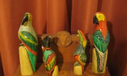 Beautiful hand carved parrots from Jamaica. Total of four.