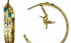 Gold plated feather themed hoop earrings with two turquoise enameled stones and a hanging Flitch bird charm.Click here to BUY Visit: www.teamsportstrends.com Connect with us on FACEBOOK