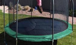 This heavy duty 15' round trampoline is a great size for all jumpers. The trampoline comes with a safety enclosure frame that interlocks with a T-bracket socket to give the enclosure better stability. T-bracket technology adds strength and durability to
