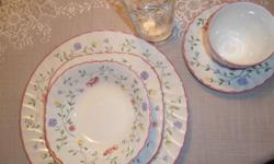 Sixpiece sets: Dinner plate (8), Desert plate (8), Soup bowl (8), Cup (8)and saucer (8), Water glasses(6). Service for 8. Oval Platter. $15.00 Have several extra pieces available priced