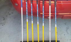 Ladies Bazooka HT Max graphite shaft irons. Set consists of #4 Cobra S3 Maxhybrid with golf pride jumbo grip, 5,6,7,8,9,PW, 9 iron is a top flite replacement iron, not from the original set. Still has good life in them, in good shape, would