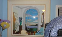 Beautiful signed and numbered Thomas McKnight limited print,matted and framed under glass. Over all including frame measures 54in.wide by 51in.high approx.Actual print size 40in. by 37in. high approx. Window scene depicts New England bay.Call David