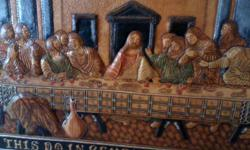 Last Supper, 3-Dimensional, Hand Tooled, Painted and Crafted Leather Artwork. LAST of only FIVE pieces left, top sold at $1,000. (No more to be made by this artist, as he sadly had a stroke, which leaves him unable to continue his artwork.) Piece