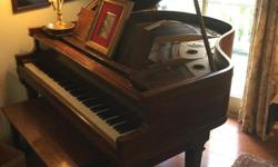 5' mahogany baby grand piano, circa 1920. Formerly a player but all equipment for that has been removed. Needs action work and ivory keys repaired (edges slightly chipped but still very playable); sound board is in good condition. Piano