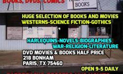 NEW MOVIES EVERY WEEK! DVDs and BOOKS HALF PRICE, 218 BONHAM ST., PARIS, TX 75460. OPEN 9-5 DAILY! VISIT US ON FACEBOOK TOO!