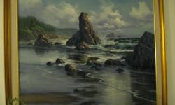 This is an original oil painting in excellent condition; circa 1989. Bandon Beach Coastline. Professional framed.