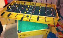 Table is in GREAT shape. As indicated in the picture, it converts to Pool Table or Foos Ball table-QUICK and EASY!