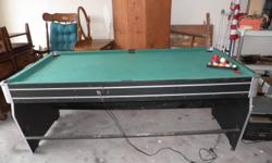 "The following is sold on an ""as is"" basis & for the following prices.  Medium Sized Pool Table/flip Air-Hockey Table ~Just reduced from $100.00 to $50.00 (this is a steal at this price). (Has all the Q-balls, triangle rack for balls but"