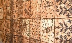 YEAR END SALE  This is a rare and authentic Polynesian Tapa / Kapa and the pieces are all natural, handmade Tapa cloth made from the inner bark of the Mulberry Tree.  Ngatu Uli (3 pieces available): This piece is rarely seen and reserved