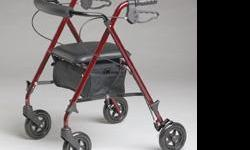 """Medline Ultralight Rollator: This revolutionary Rollator offers many unique features: Weighs only 11 lbs. vs. 16 lbs. for traditional rollators. Seat height adjustable to accommodate people 4'10"""" to 6'2""""Serves as a standard and a junior rollator. High end"""