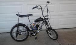 TRULY A DREAM MACHINE!    Brand new 50 year anniversary addition Schwinn Sring Ray. #494 of 500 made. (FRITZ FIFTY)  With 48cc Two stroke star fire Grubee engine. Up to 35 MPH. 150 miles per gallon. Street legal. Call after 3:00