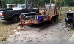 6x14 duel axle weed eater and ladder rack removable tailgate with drive on ranps