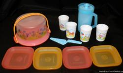 I have the Tupperware Eco Kids Super Heroes play set for sale. Included in set is the mini cake taker, 4 mini plates, 4 mini tumblers, the mini pitcher, and the mini cake cutter/server. these sets will outlast your kids! $20.25 for each set - I have 4