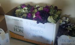 Lots of vases, flowers, awesome bridesmaid bouquets that i bought the flowers n had florist put together. There is hydrangeas n tulips! river rock...my colors were plum, fern and ivory. Willing to split up stuff please contact me for photos i have lots!