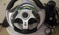 For sale is a like new Xbox Madcatz 2 Steering Wheel attachment. Steering wheel works great, however don't have the pedals with it. You probably can find pedals sold separately somewhere. Payment by cash only. Local sale only. E-mail me if interested.