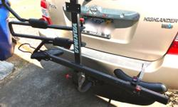"Yakima Stick Up 2 bike rack for 2"" or 1 1/4"" hitches.  New cost $250.00, excellent condition. Used very little. Extremely secure, outstanding performance.  Easy to load/unload.  Hitch load limit 45 lb per bike. Folds up when not"